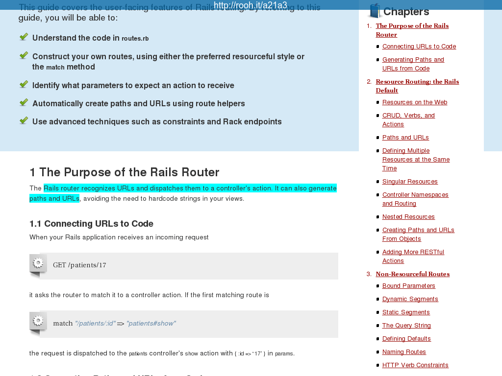 Ruby on Rails Guides: Rails Routing from the Outside In